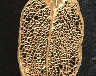 Gold Leaf Necklace Pendant