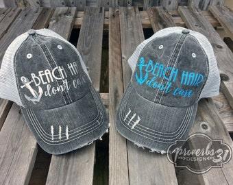 Beach Hair Don't Care- Distressed Mesh Trucker Hat/Cap
