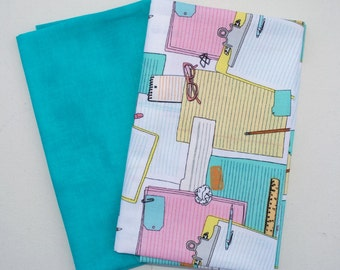 Two Fat Quarter Cuts - Note Pad from Type collection by Julia Rothman Wyndham Fabrics with coordinated Turquoise fabric