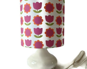 vintage ceramic lamp with Alice Apple fabric shade