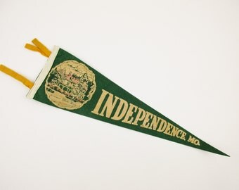Vintage Wool Felt Pennant - 'Independence MO' - Screen-printed - c. 1940s-50s - Summer White House of President Truman