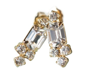 Gold Stud Bridal Earring Wedding Jewelry, Dainty Emerald Cut Crystal Cluster Small Tiny Classic Vintage Post Back, Camilla Chirstine EVAN