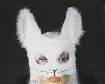 Rabbit Mask with Faux Fur!  Animal mask, Fursuit,  Fursona, White  Rabbit costume,  Halloween, Role Play