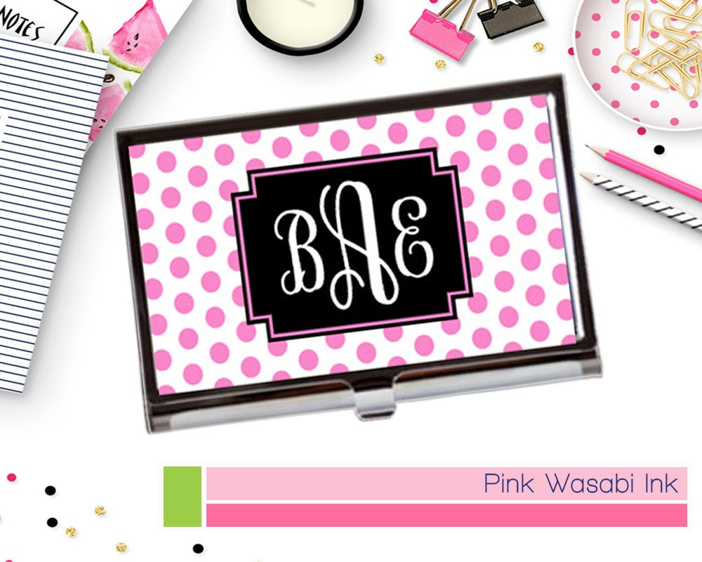 Monogram Business Card Holder Case Personalized Business Card