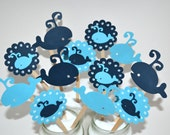 12 Whale Cupcake Toppers / Whale Baby Shower / Whale birthday Party / Whale Invitation / Under the Sea / Nautical Baby Shower