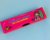 Naughty Annie Pencil Box. Pink Vinyl Pencil Case. 1980s Stationery. Surfing Pencilcase. Back to School