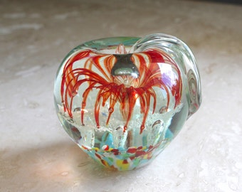 Glass apple paperweight - Murano style glass apple - heavy glass apple paperweight - teacher gift - desk accessory - blown glass apple