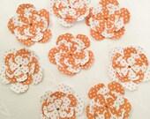 10 Handmade Flowers: flower Embellishments - Layered flowers - 3D Flowers - orange flowers - orange polka dot - paper flowers - scrapbooking