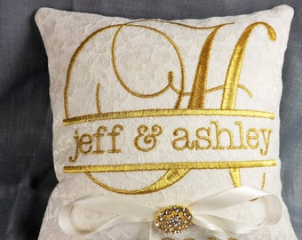 Laced Embroidered Ring Bearer Pillow, monogrammed ring bearer, personalized, wedding pillow, ring pillow, ring bearer pillow