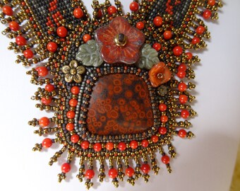 Olympic Poppy Jasper, Fair Isle Trailing Flowering Vine, Picasso and Coral Beads, Red, Darkest Brown, Gray and Bronze Necklace