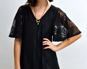 SALE Paisley Bell Sleeves Dress in Black