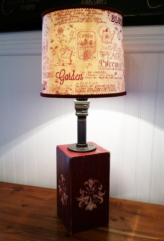 red and gold industrial table lamp rustic wood base by clovermead. Black Bedroom Furniture Sets. Home Design Ideas