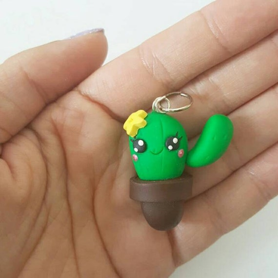 Cactus Charms, Cactus Polymer Clay Pendant, Polymer Clay, Chibi Cactus, Kawaii Cactus, polymer clay, clay pendant, Kawaii, Chibi, Clay Charm