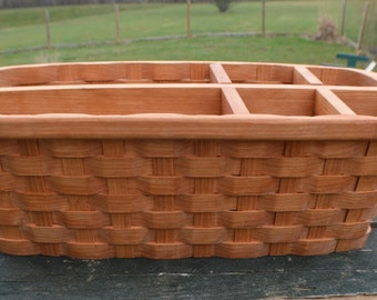 office organizer desk accessory Cherry wood basket