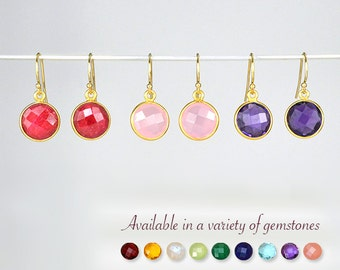 Custom Gemstone Earrings, Ruby Earrings, Pink Chalcedony earrings, Purple Amethyst earrings, birthstone earrings, bridesmaid gift ideas