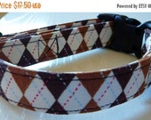 "Sale 50% Off Dog Collar - Brown Argyle  - ""Hooty Hoot""-NO EXTRA CHARGE for colored buckles"
