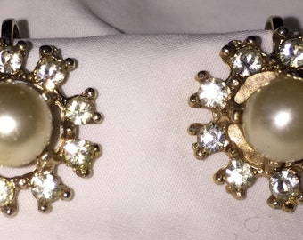 Brilliant Pearl and Rhinestone Screw Back Earrings Midcentury Faux Pearl Earrings Madmen Era