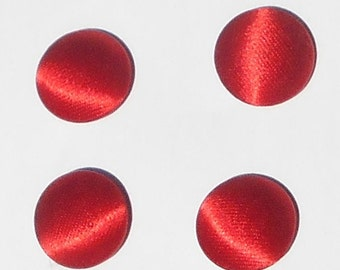 Set of 8 Vintage Crimson Material Buttons - 5/8 in