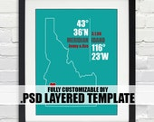 Idaho Coordinate Print - Personalized DIY PSD Layered Template, Wedding or Anniversary Gift, Digital Download Map, Bridal Shower Gift