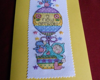 "Cross stitch card - ""A new arrival!"" non-gender baby card"