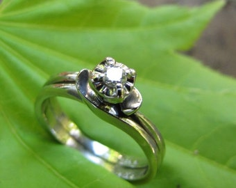 DEADsy LAST GASP SALE Illusion Head Solitaire Diamond Vintage Engagement Ring, Handcrafted White Gold Engagement Ring size 5 Square Shank