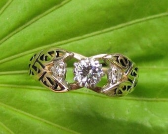 DEADsy LAST GASP SALE Unfurling Lily : Diamond Vintage Engagement Ring, 14K Gold  Hollywood Regency size 3 - 4 Three Stone
