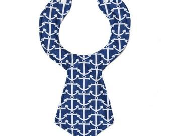 Blue Anchors Baby Necktie Bib