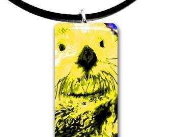 yellow, Sea Otter pendant, hand painted unique artwork, Adorable Otter, Glass tile penant, bright yellow