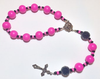 Beautiful Handmade Lampwork Single Decade Rosary Chaplet - Bubblegum Pink Rubber Coated Glass Beads, Black Sugar Beads & Silvertone Accents