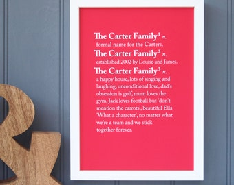 Family Dictionary Definition Print -Family Meaning print-Family name meaning print-Gift for parents -personalised family print -Family rules