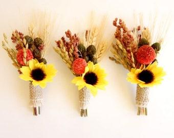 Sunflower Wedding, Rustic Boutonniere, Fall Boutonniere, Sunflower Boutonniere, Dried Flower Boutonniere, Mens Lapel Pin, Wheat Boutonniere