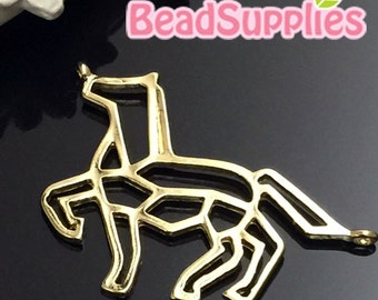 CH-ME-02314-  Nickel Free, Lead free, Gold plated - Geometry charm, horse, 2 pcs