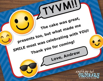 Emoji Thank You Note, Printable Boy's Emoji Flat Thank You Card, EDITABLE Thank You Note, INSTANT DOWNLOAD, digital file