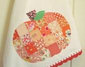 recreate a sweet patchwork pumpkin flour sack tea towel