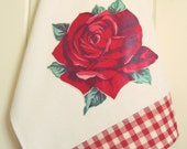 vintage rose tea towel