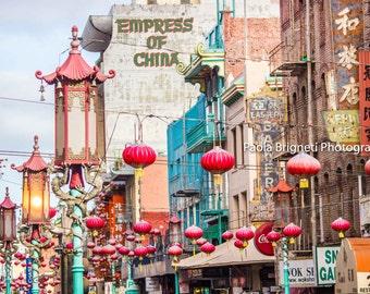 San Francisco Photography, Chinatown Lanterns, Lunar New Year, Empress of China, Living Room Decor, Fine Art Travel Print, California Art