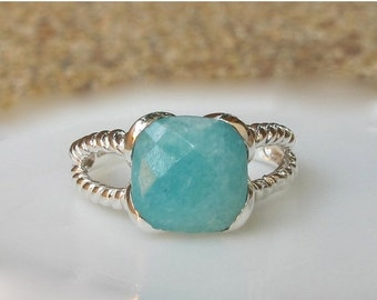 SALE Topaz Ring- Amazonite Ring- Quartz Ring- Something Blue- Silver Ring- Gemstone Ring- Square Ring