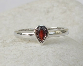 Sterling Silver Garnet Ring- Stack Ring- Midi Ring- Pinky Ring- Tiny Ring- Children Ring- Gemstone Ring- Sterling Silver Ring- Thumb Ring