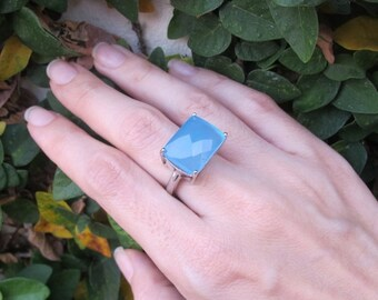 SALE Blue Chalcedony Ring- Gemstone Ring- Stone Ring- Blue Stone Ring- Blue Quartz Ring- Silver Ring- Blue Ring- Blue Topaz Ring