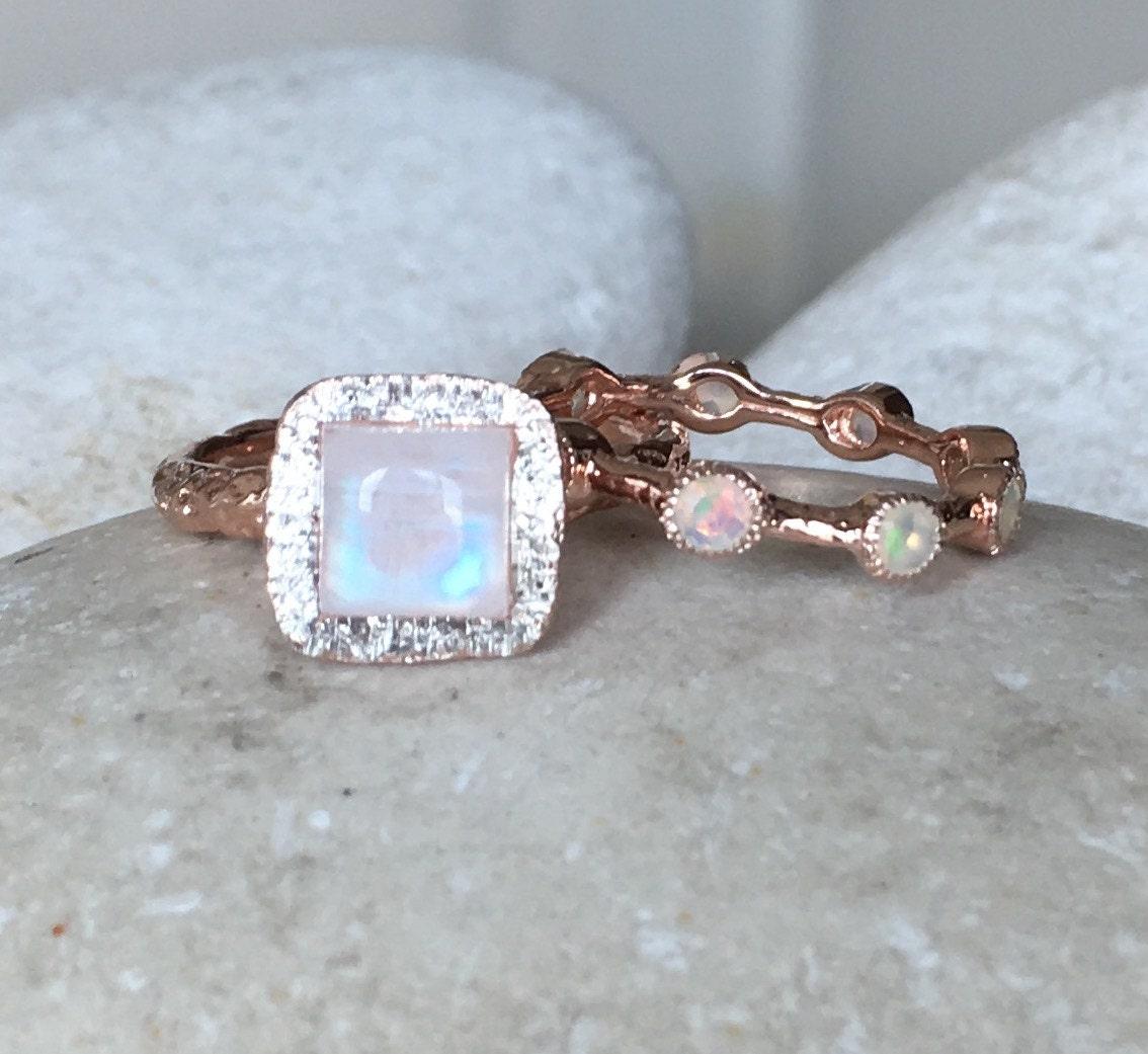 Rose Gold Moonstone Bridal Set Ring Tree Branch Engagement Ring  Nontraditional Alternative Engagement Ring
