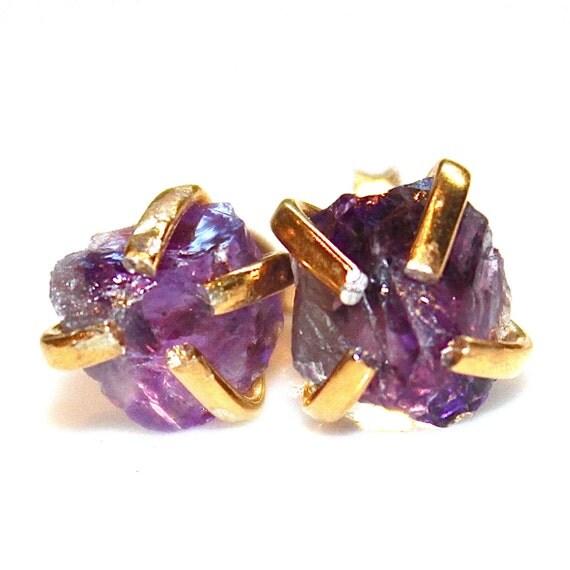 raw amethyst stud earrings organic earrings purple by
