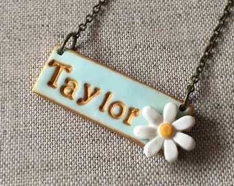 Daisy Name Necklace, Daisy Girl Jewelry, Personalized name, Flowergirl Custom Gift, Easter and Spring