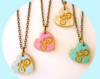 Bike heart Girl Necklace, I love Bike Necklace, Fun Girl Jewelry, 3,4,5,6,7,8,9, 10 years old birthday gift