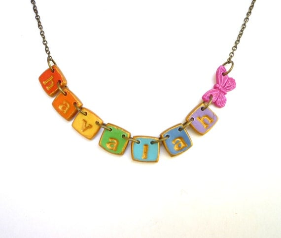 Rainbow girl name necklace with butterfly colourful girl for Jewelry making kit for 4 year old