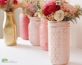 Valentines Day Decor Set of 3 Painted Mason jars Pink Red Cream Quilted Vase Rustic Home Decor