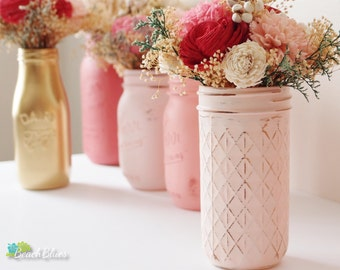 Blush Pink / Quilted Mason Jars / Painted Mason Jars / Wedding Decor / Home decor / Dorm Decor / Cream / Vase / gift for her / Set of 3