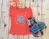 Arrow Monogram coral flutter Sleeve shirt- m2m sew sassy