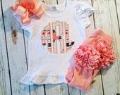 Arrow scalloped circle monogram embroidered ruffle shirt-M2M Sew Sassy peach- m2m Sew Sassy navy