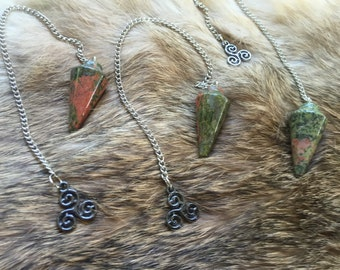 Pendulum- unakite gem- Triquetra charm- divination wicca new-age pagan fortune telling Ouija dousing