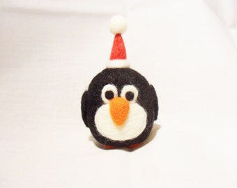 Needle Felted Christmas Penguin - Christmas Ornament - 100% Merino wool - needle felt penguin - wool felt penguin - christmas decoration
